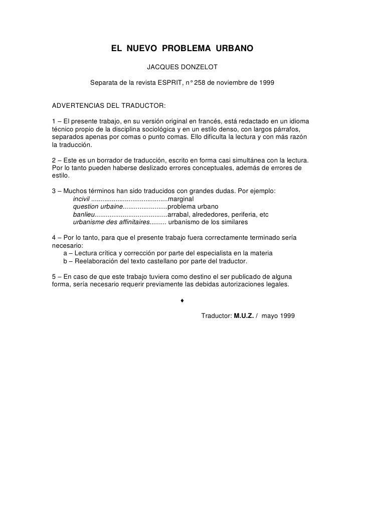 EL NUEVO PROBLEMA URBANO                                     JACQUES DONZELOT               Separata de la revista ESPRIT,...