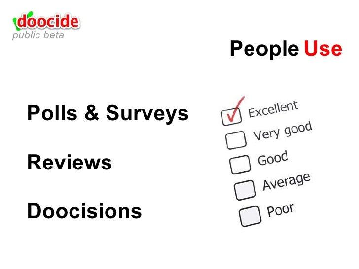 Polls & Surveys Reviews Doocisions People Use public beta
