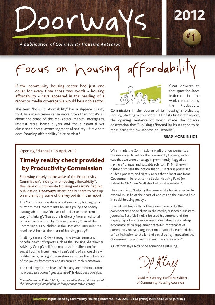 #  A publication of Community Housing AotearoaFocus on Housing affordabilityIf the community housing sector had just one  ...