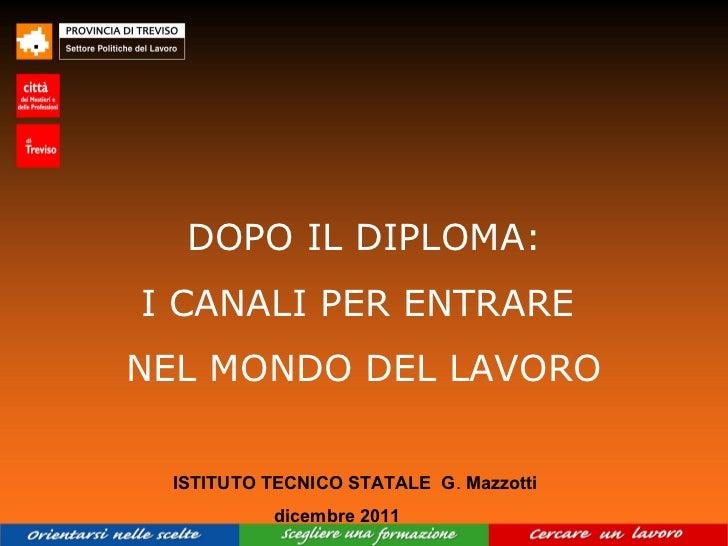 DOPO IL DIPLOMA:I CANALI PER ENTRARENEL MONDO DEL LAVORO ISTITUTO TECNICO STATALE G. Mazzotti          dicembre 2011
