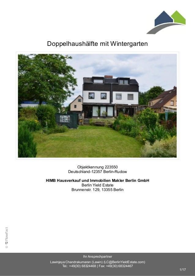 Doppelhaushälfte mit Wintergarten Objektkennung 223550 Deutschland-12357 Berlin-Rudow HIMB Hausverkauf und Immobilien Makl...