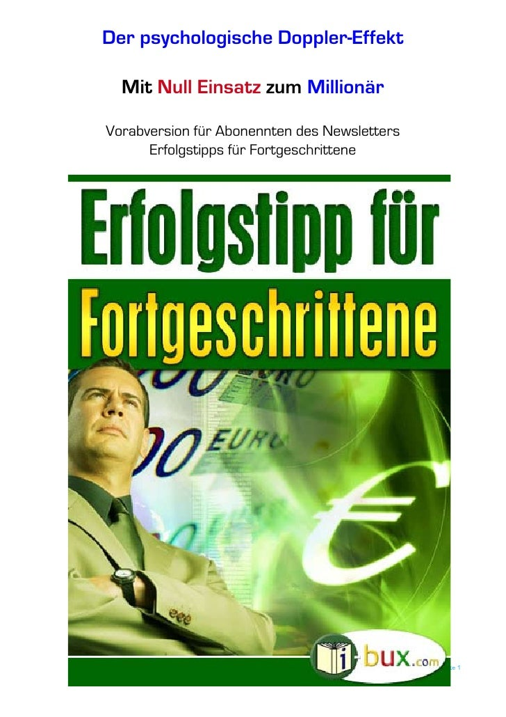 Der psychologische Doppler-Effekt    Mit Null Einsatz zum Millionär  Vorabversion für Abonennten des Newsletters       Erf...