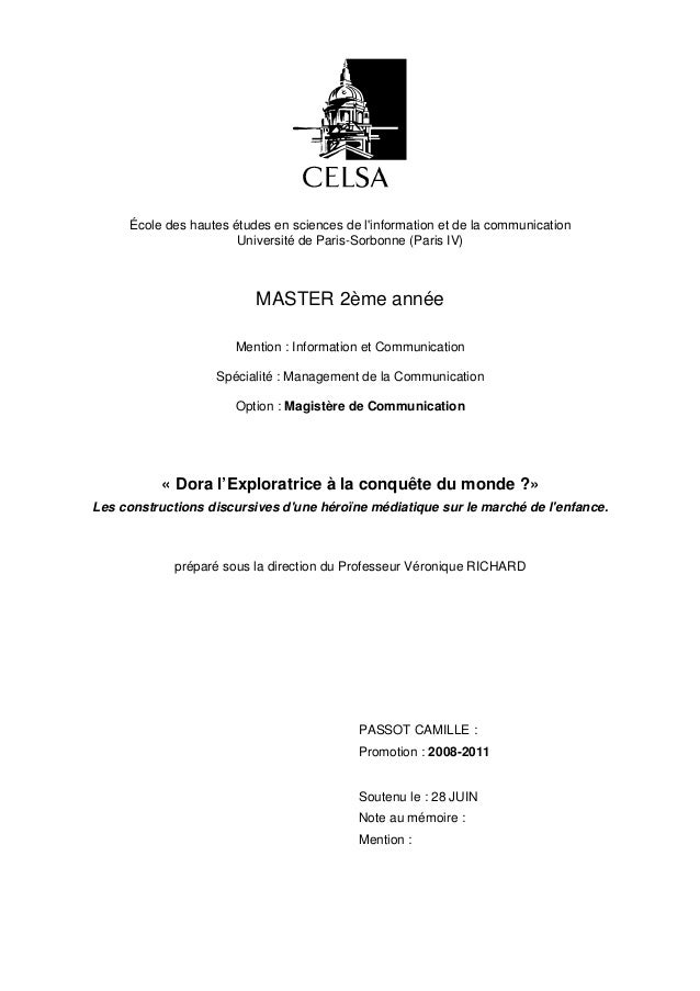 École des hautes études en sciences de linformation et de la communication                       Université de Paris-Sorbo...