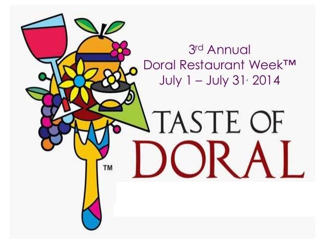 3rd Annual Doral Restaurant Week™ July 1 – July 31, 2014