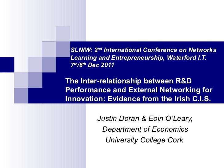SLNIW: 2 nd  International Conference on Networks    Learning and Entrepreneurship, Waterford I.T.    7 th /8 th  Dec 2011...