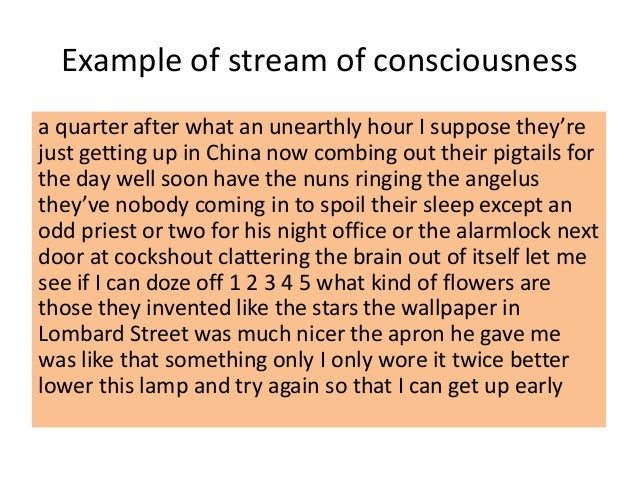 examples of stream of consciousness writing