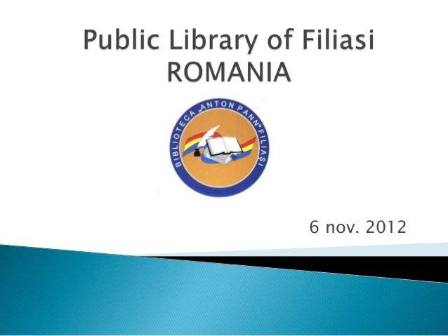 Dorina bralostiteanu, chief librarian at public library of fillasi, dolj county, romania (ro)