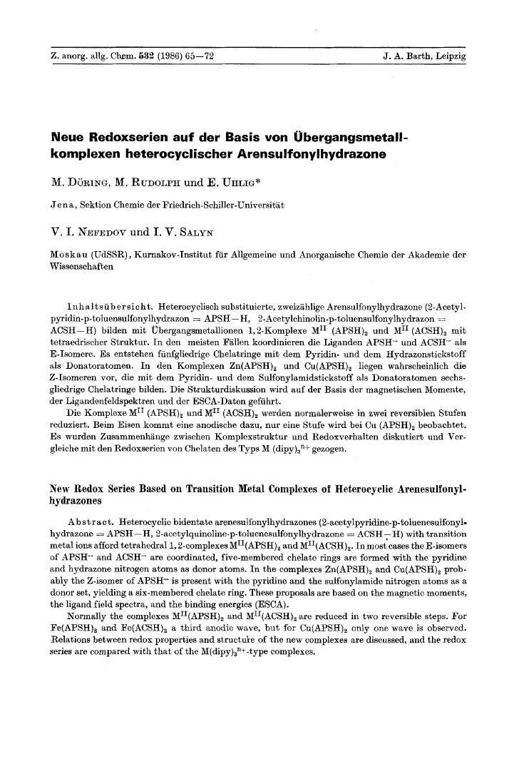 Z. anorg. allg. Chem. 632 (1986) 65-72                                                    J. A. Barth, Leipzig     Neue Re...