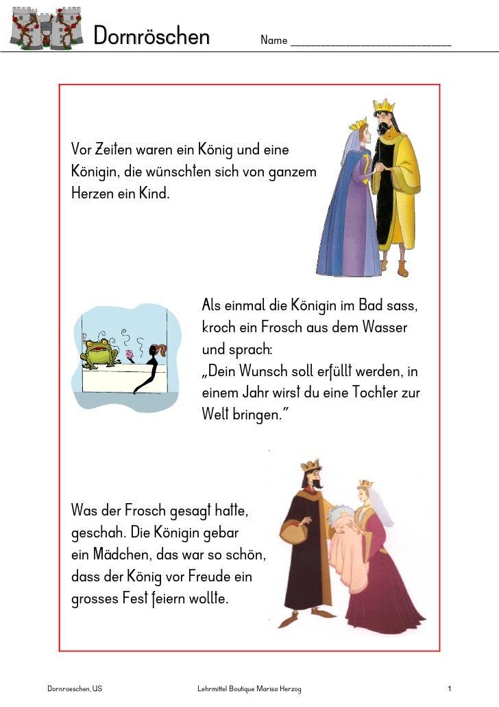 Dornröschen                        Name ________________________________      Vor Zeiten waren ein König und eine      Kön...