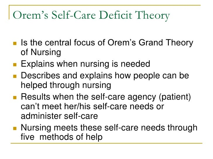 dorothea orems nursing theory essay Bestselling books: nursing concepts of practice, self- care theory in nursing: selected papers of dorothea orem  dorothea orem: self-care deficit theory.