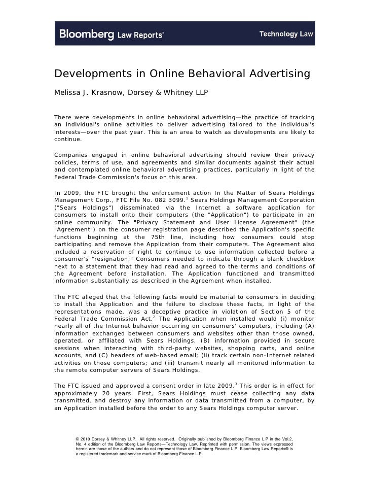 Developments in Online Behavioral AdvertisingMelissa J. Krasnow, Dorsey & Whitney LLPThere were developments in online beh...