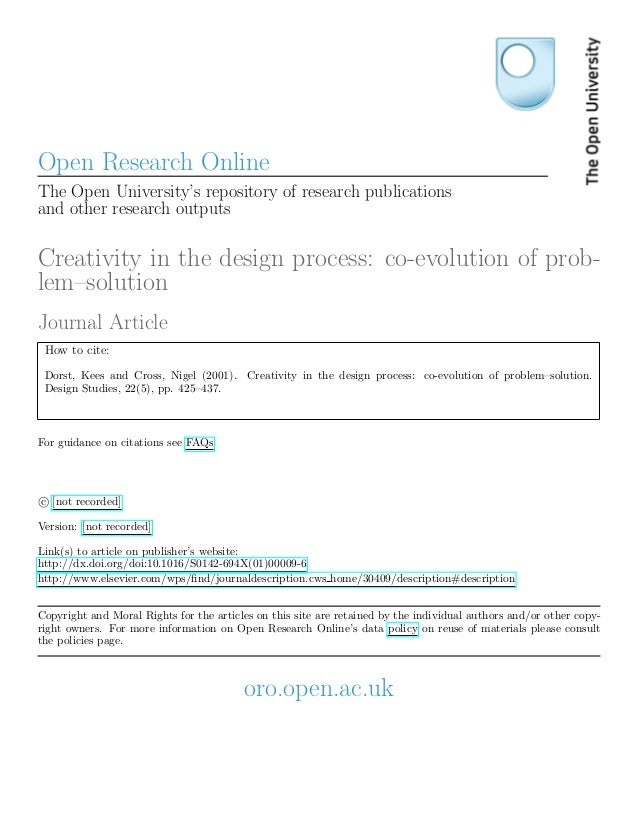 Dorst, kees and cross, nigel (2001): creativity in the design process co evolution of problem–solution.