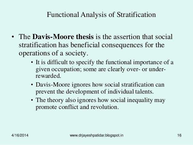 Davis and moore thesis of social stratification