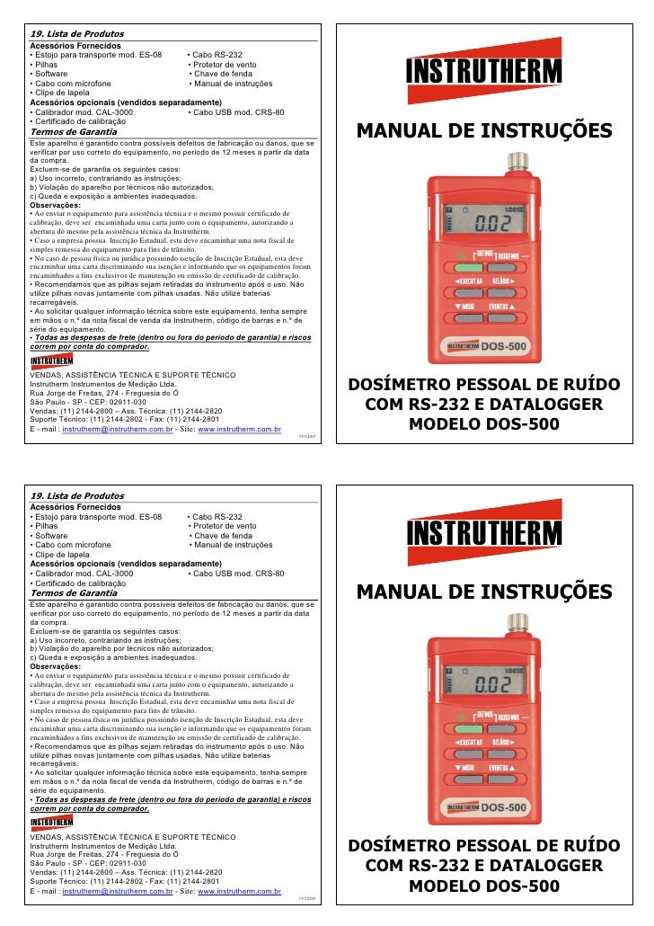 19. Lista de ProdutosAcessórios Fornecidos• Estojo para transporte mod. ES-08  • Cabo RS-232• Pilhas• Software• Cabo com m...