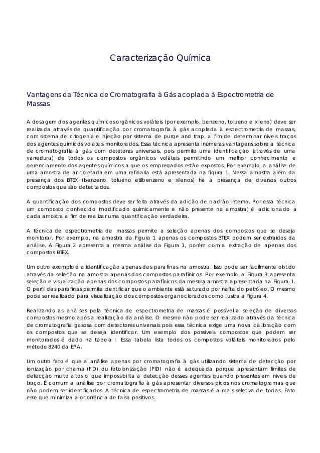 Caracterização Química Vantagens da Técnica de Cromatografia à Gás acoplada à Espectrometria de Massas A dosagem dos agent...