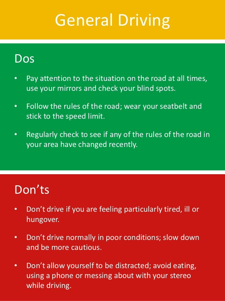 Dos and don'ts of safe driving