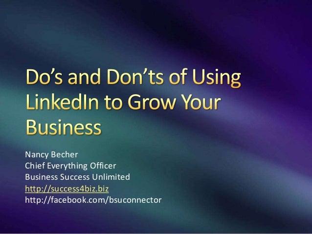 Nancy Becher Chief Everything Officer Business Success Unlimited http://success4biz.biz http://facebook.com/bsuconnector
