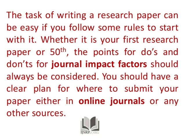 Order of writing a research paper journal