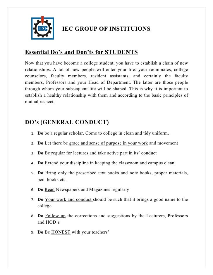 Essential Do's and Don'ts for New Students