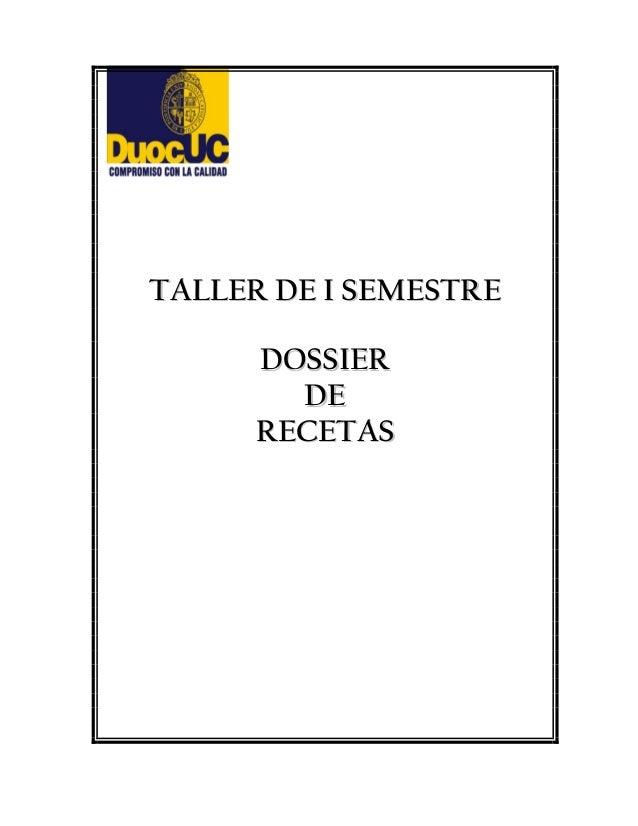 TTAALLLLEERR DDEE II SSEEMMEESSTTRREE DDOOSSSSIIEERR DDEE RREECCEETTAASS