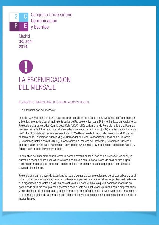 II Congreso Universitario de Comunicación y Eventos. Información y Programa