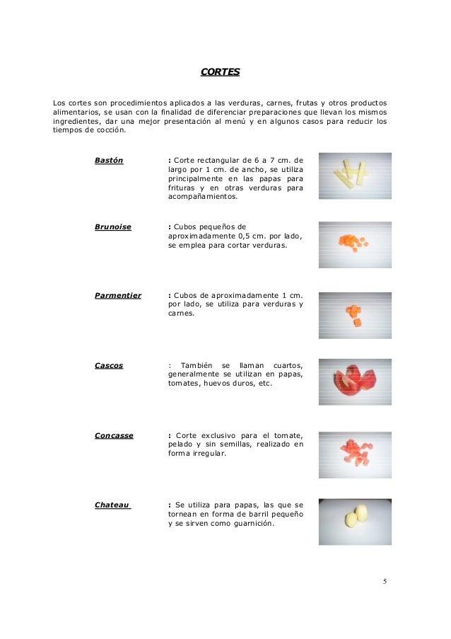 Dosier de cocina basica teoria for Cortes de verduras gastronomia pdf