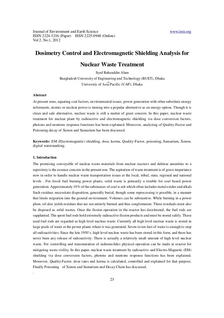 Dosimetry control and electromagnetic shielding analysis for nuclear waste treatment