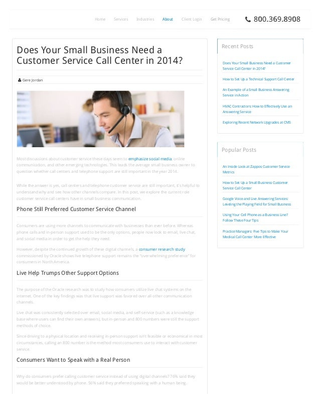 Home  Services  Industries  About  Client Login  Does Your Small Business Need a Customer Service Call Center in 2014?  Ge...