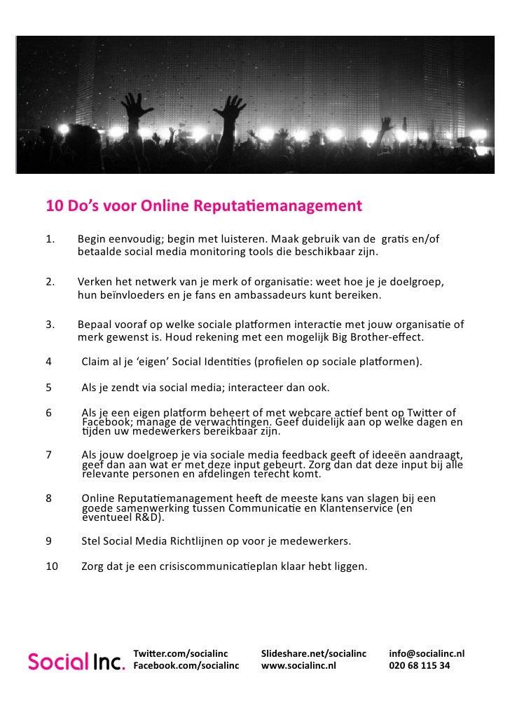 10 Do's voor Online Reputatie Management
