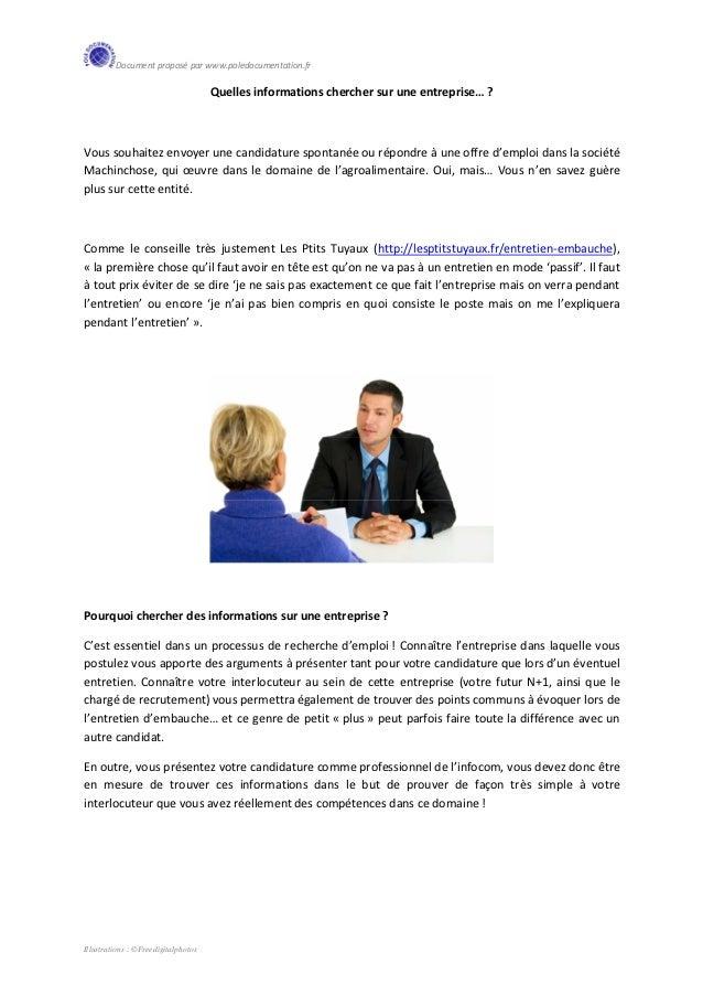 Document proposé par www.poledocumentation.fr                                     Quelles informations chercher sur une en...