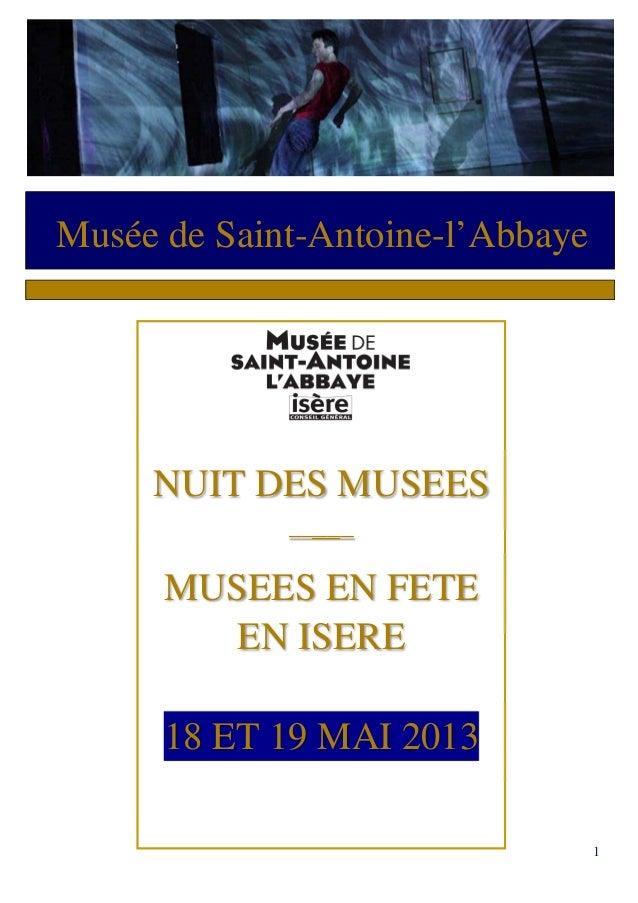 1Musée de Saint-Antoine-l'AbbayeNUIT DES MUSEES_____MUSEES EN FETEEN ISERE18 ET 19 MAI 2013