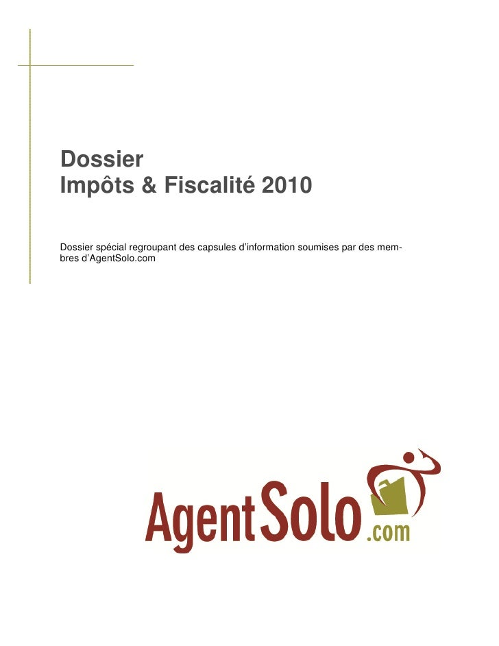 Dossier impots&fiscalite-2010