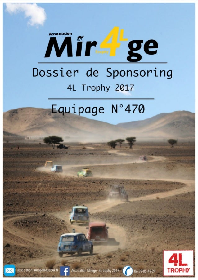 Dossier sponsoring de l'Association Mirage - 4L Trophy 2017