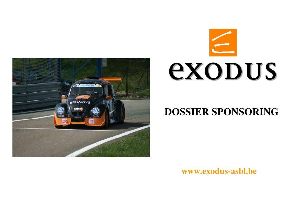 DOSSIER SPONSORING       www.exodus-asbl.be