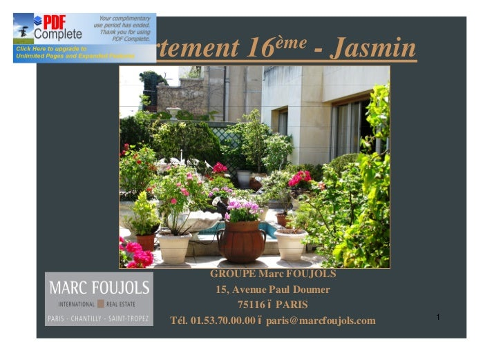 Appartement 16ème - Jasmin               GROUPE Marc FOUJOLS                15, Avenue Paul Doumer                     751...