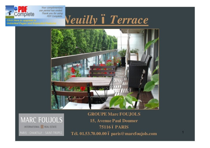 APARTEMENT FOR SALE NEUILLY TERRACE