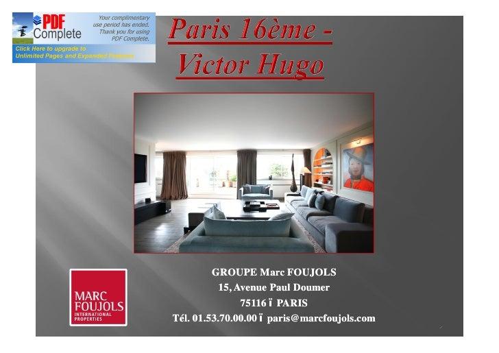 PARIS VENTE APPARTEMENT TERRASSE - VICTOR HUGO