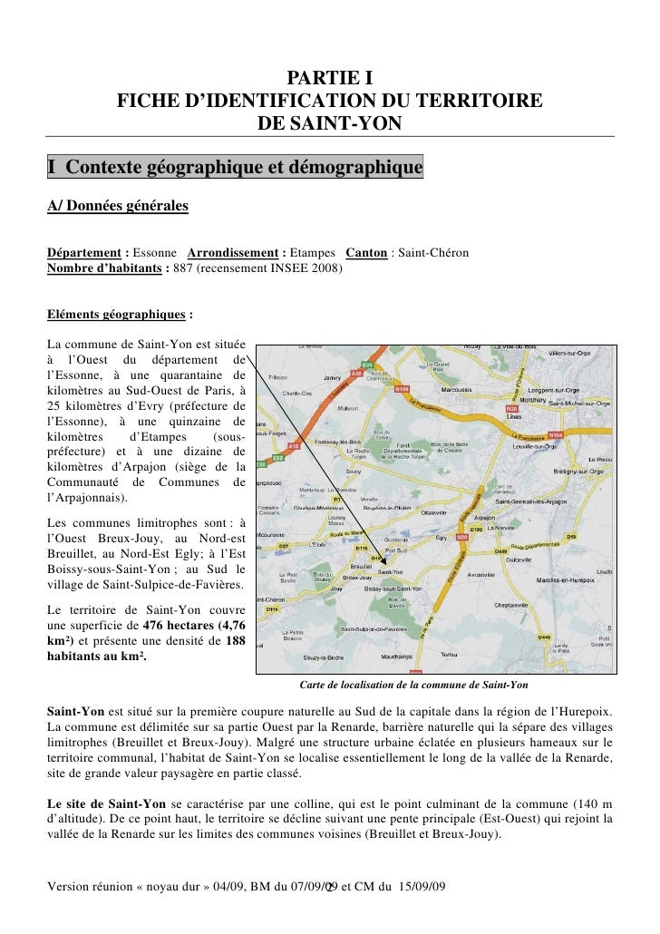 PARTIE I             FICHE D'IDENTIFICATION DU TERRITOIRE                         DE SAINT-YONI Contexte géographique et d...