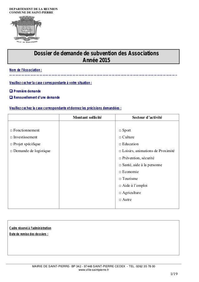 Dossier demande de subventions pour les associations de - Renouvellement d un bureau association loi 1901 ...
