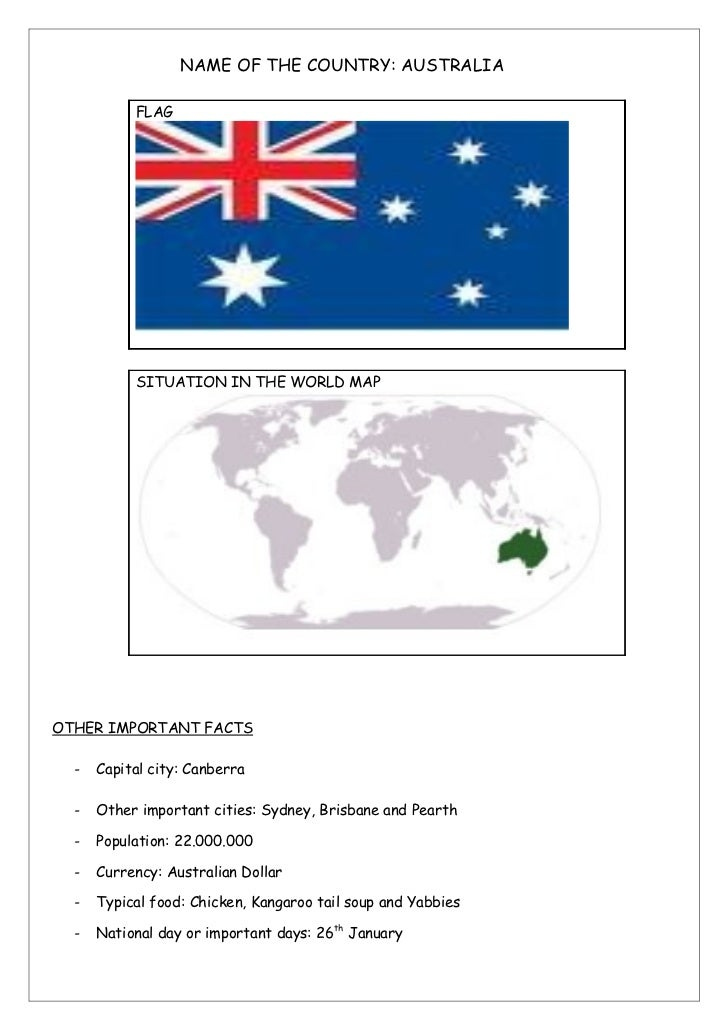 NAME OF THE COUNTRY: AUSTRALIA           FLAG           SITUATION IN THE WORLD MAPOTHER IMPORTANT FACTS  -   Capital city:...