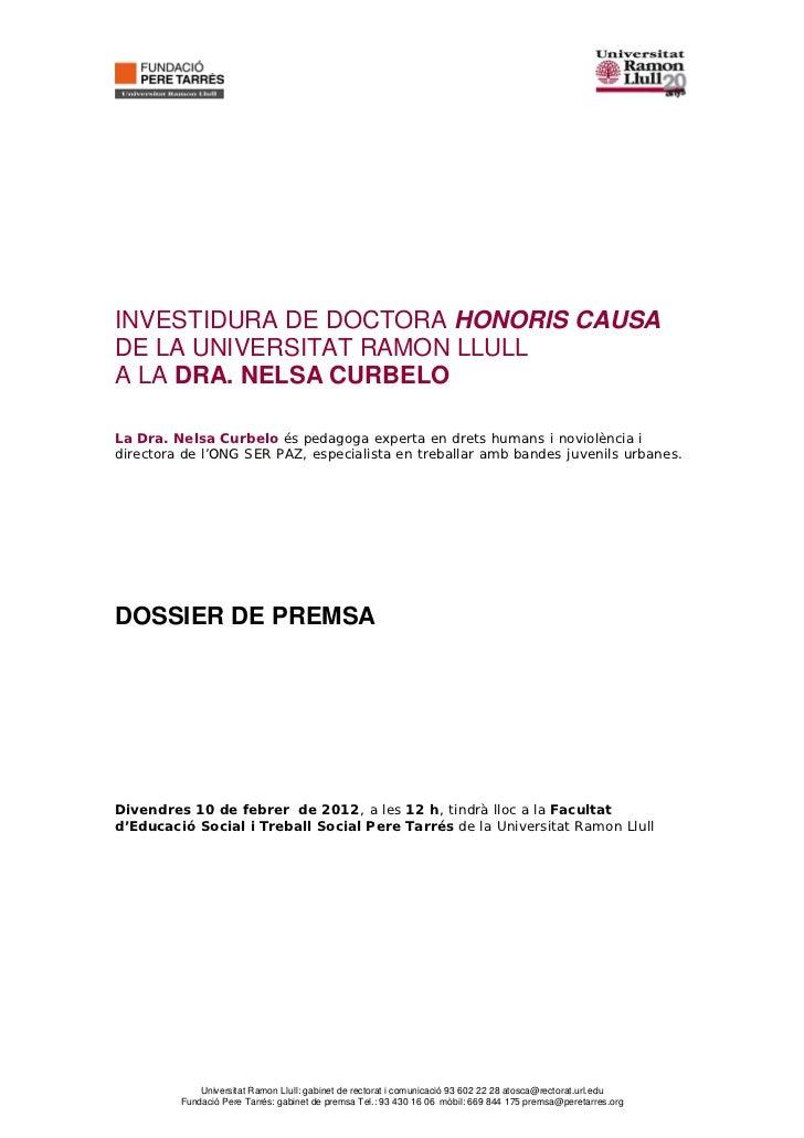 Dossier de premsa doctorat honoris causa a Nelsa Curbelo