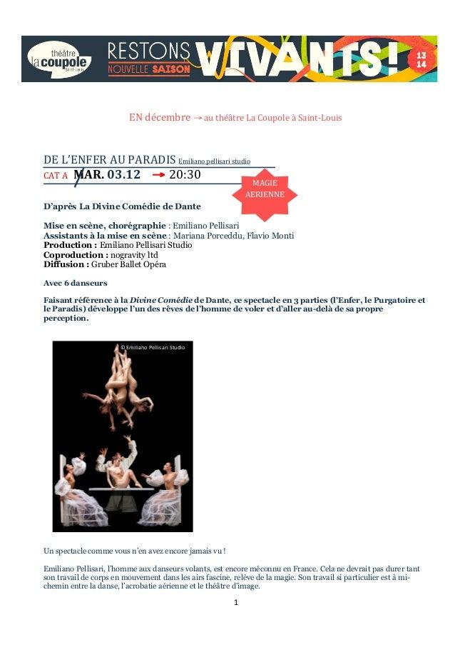 EN  décembre  →  au  théâtre  La  Coupole  à  Saint-‐Louis          DE  L'ENFER  AU  PARADI...