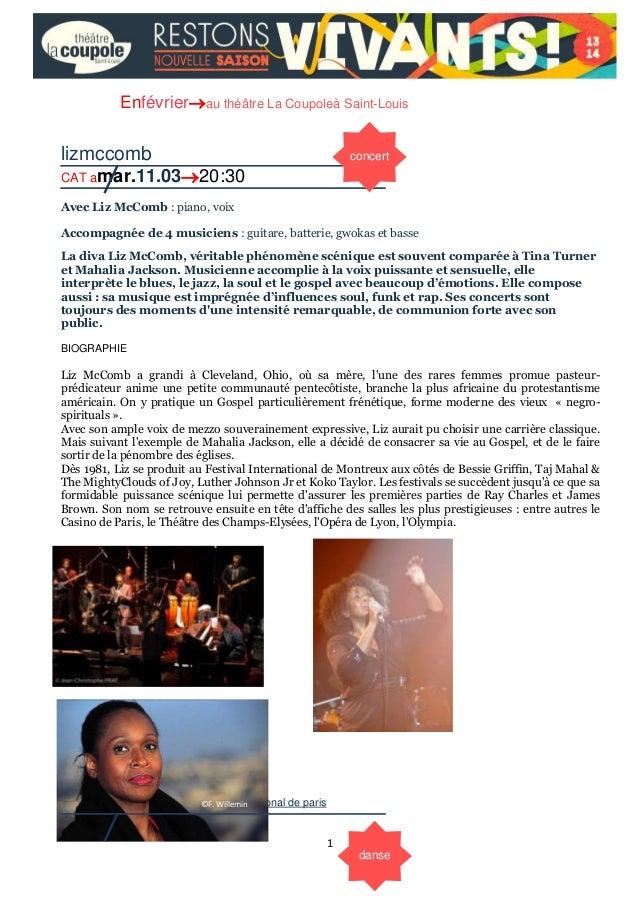 Enfévrierau théâtre La Coupoleà Saint-Louis  lizmccomb  concert  CAT amar.11.0320:30 Avec Liz McComb : piano, voix Accom...
