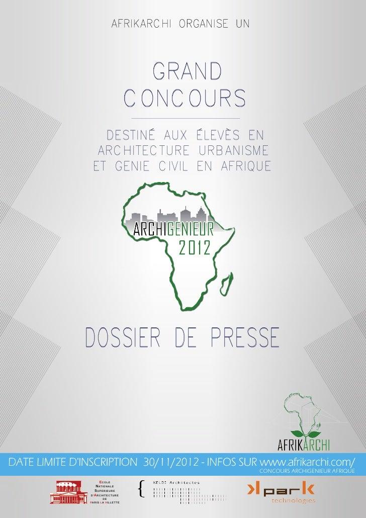 Dossier de presse   concours archigenieur afrique 2012