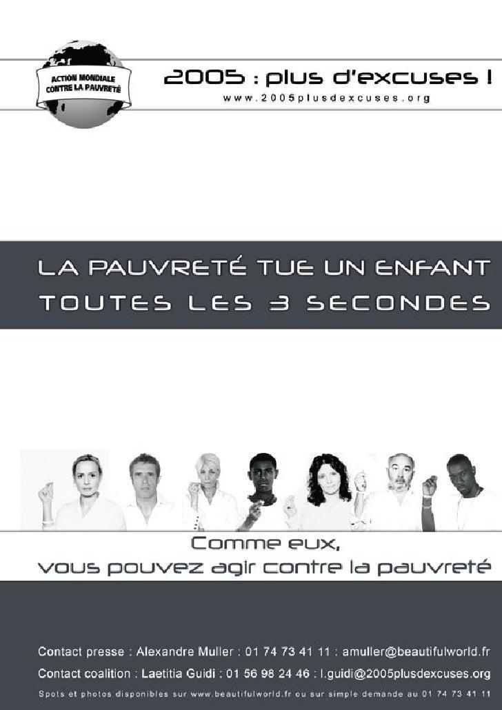 """Coalition contre la pauvreté - """"2005: plus d'excuses!"""" - Dossier de presse"""