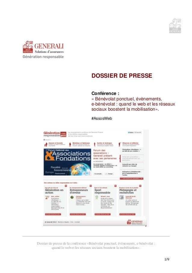 DOSSIER DE PRESSE                                     Conférence :                                     « Bénévolat ponctue...