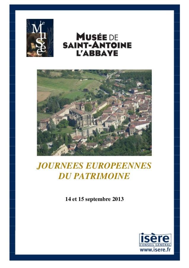 JOURNEES EUROPEENNES DU PATRIMOINE 14 et 15 septembre 2013