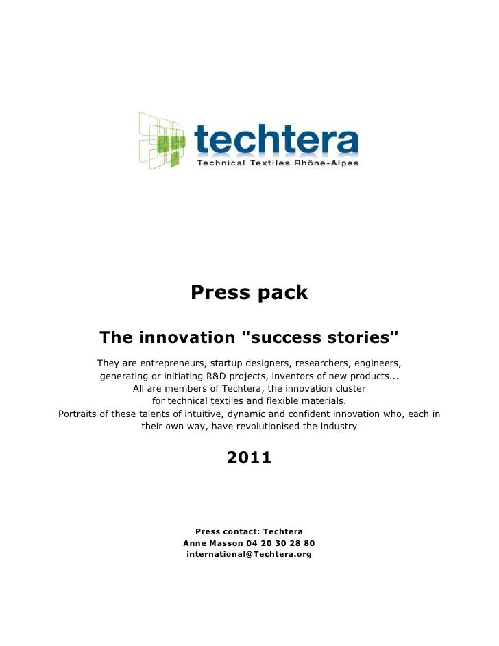 """Press pack         The innovation """"success stories""""         They are entrepreneurs, startup designers, researchers, engine..."""