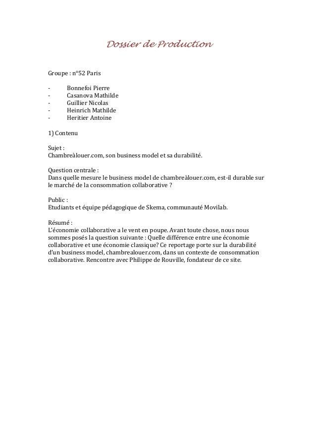 Dossier de Production Groupe : n°52 Paris -  Bonnefoi Pierre Casanova Mathilde Guillier Nicolas Heinrich Mathilde Heritier...