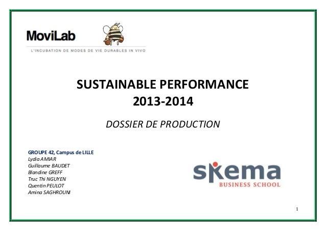 Sustainable Performance: Dossier de production - Groupe 42
